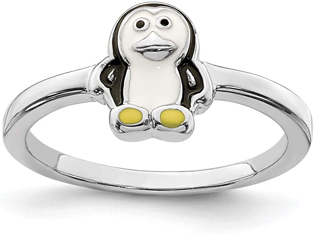 Solid 925 Sterling Silver Childs Enameled Penguin Ring Band Size 3