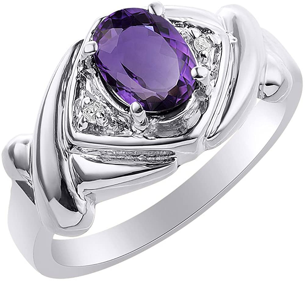 Diamond & Amethyst Ring Set In 14K White Gold - XO Hugs & Kisses - Color Stone Birthstone Ring
