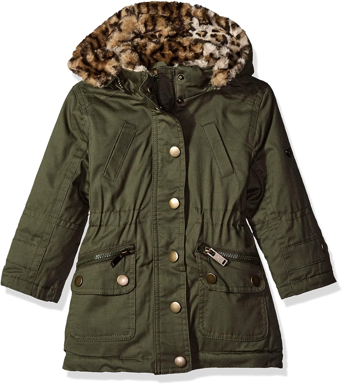 Urban Republic Girls' Cotton Twill Anorak Jacket with Faux Fur Hood