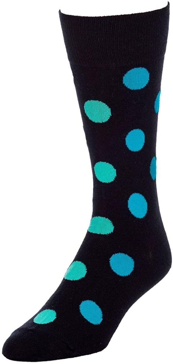 STROLLEGANT Elementary Men Polka Dot Crew Casual Cotton Socks 1 Pairs, Sock Size 10-13