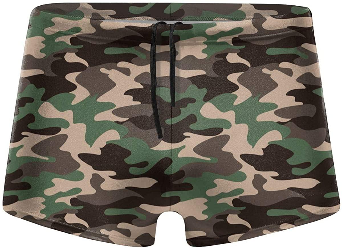 Camouflage Green Pattern Men's Swimwear Swimming Trunks Surfboard Boxer Shorts
