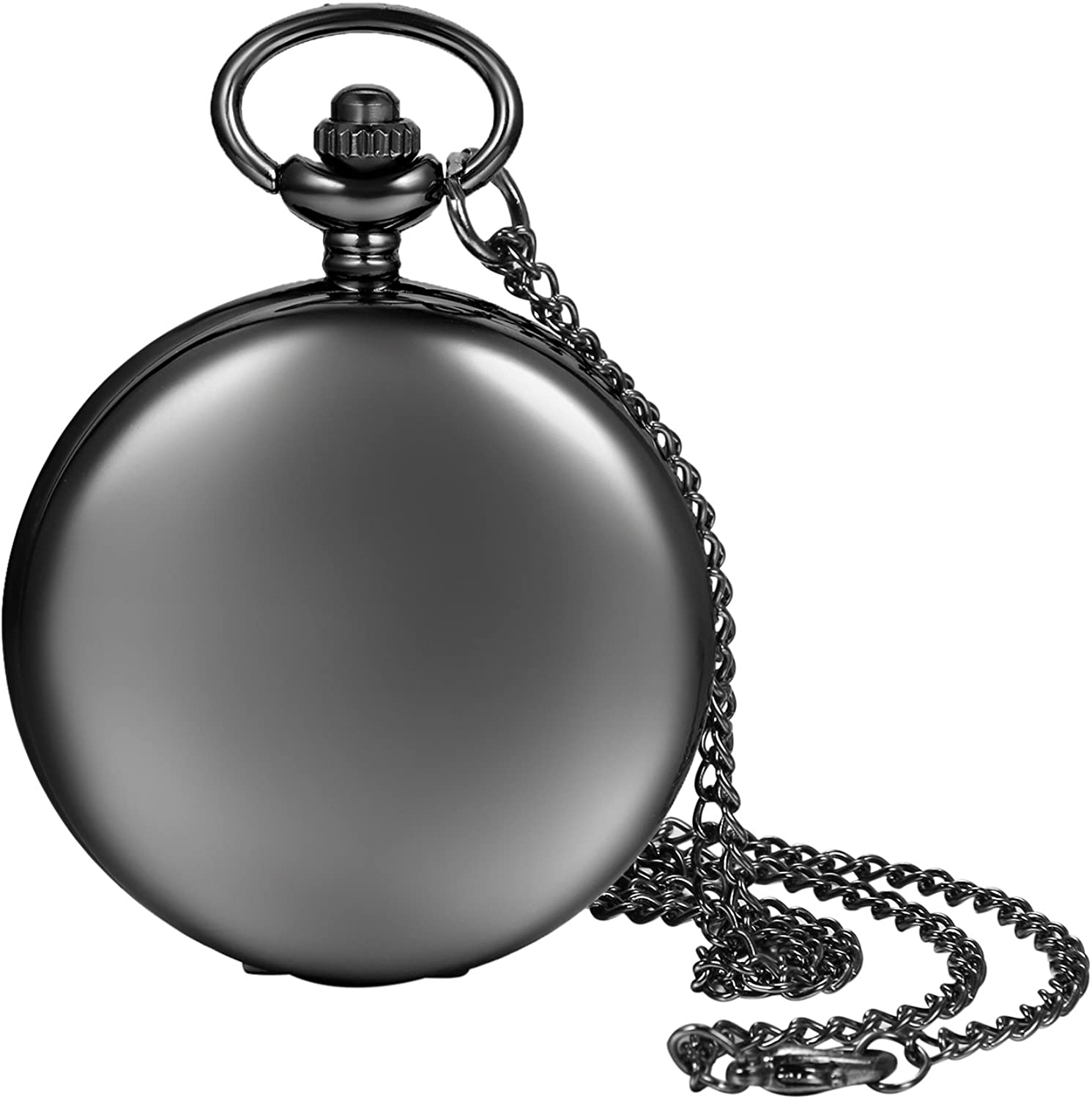 Pocket Watch for Men and Women Smooth Case Arabic Numbers Modern Quartz Pocket Watch with Chain