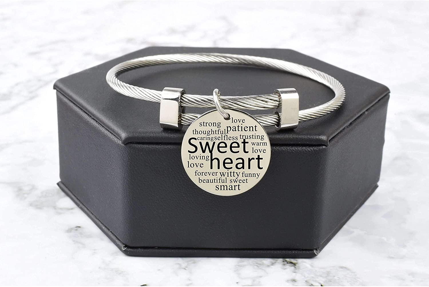 Pink Box Solid Stainless Steel Inspirational Cable Bangle Silver - Sweetheart