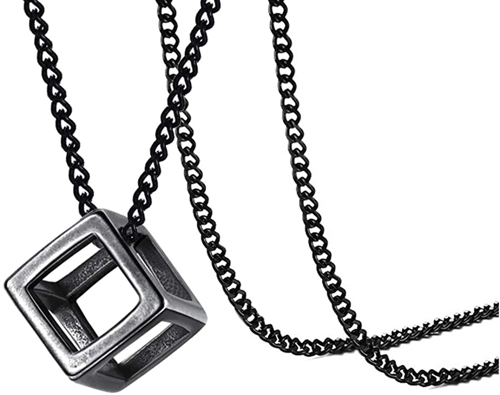 Xusamss Fashion Titanium Steel Hollow Cubic Pendant Necklace,22 Link chain