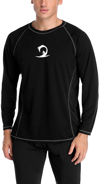 Vegatos Men's Rash Guard Long Sleeve Swim Shirts Quick-Dry Swimsuit Tops UPF 50+