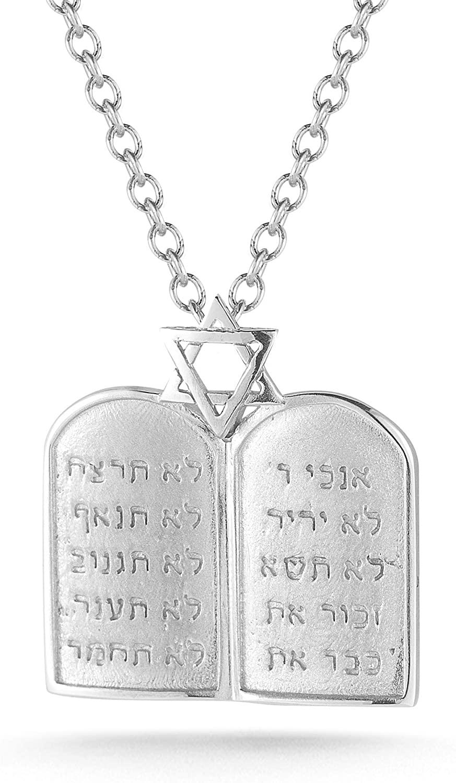 14K White Gold 10 Commandments Pendant Necklace