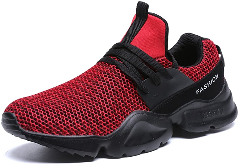 Agnus.W Flying Woven Breathable Mesh Shoes Casual Sports Shoes Men's Shoes (EU41-7 D(M) US, red)