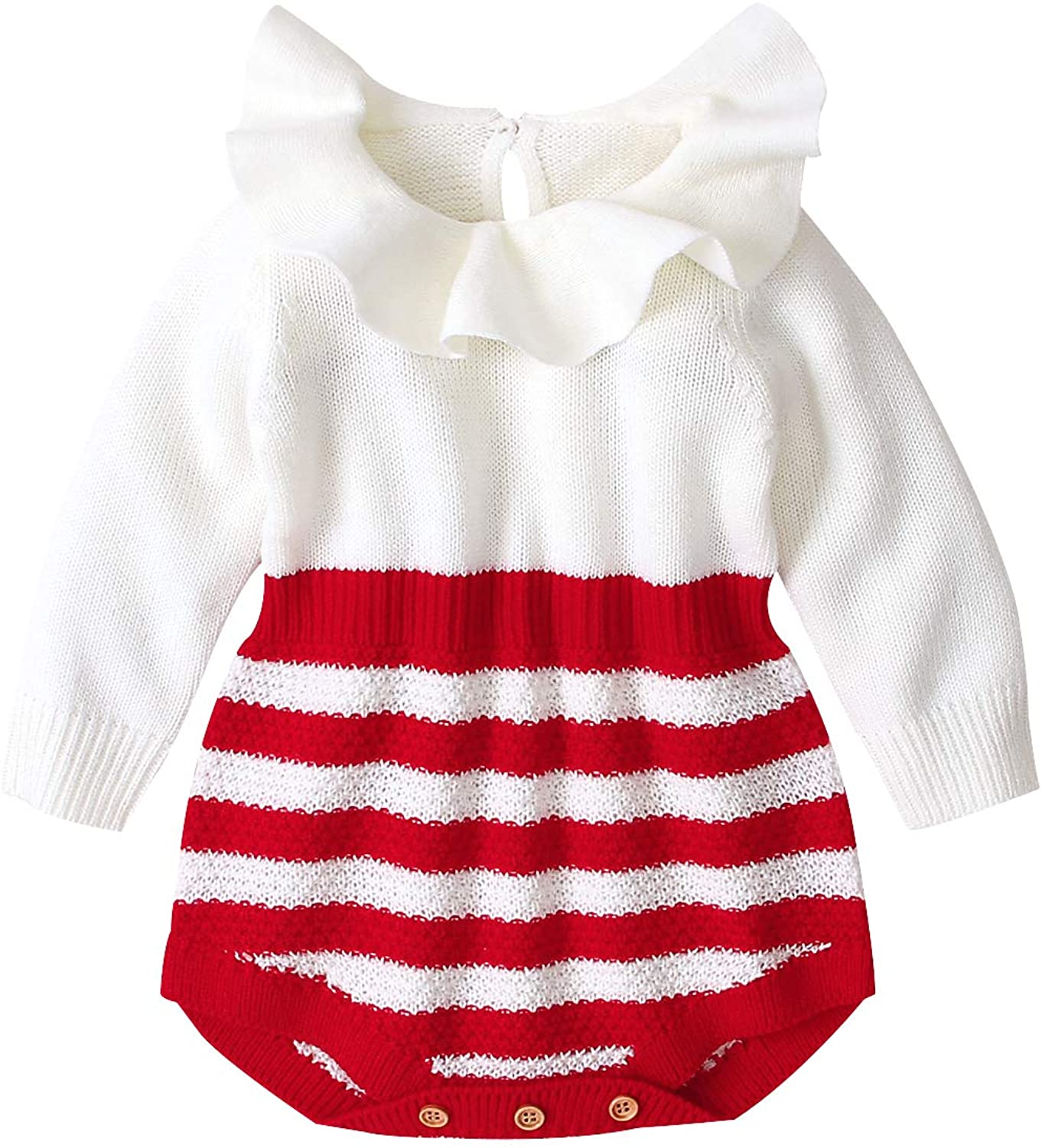 gkouHuih Newborn Babys Girls Long Sleeve Knitted Romper Jumpsuit Bodysuit Striped Ruffle Sweater