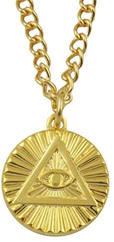 All Seeing Eye Masonic Necklace - [Gold][5/8 Diameter]