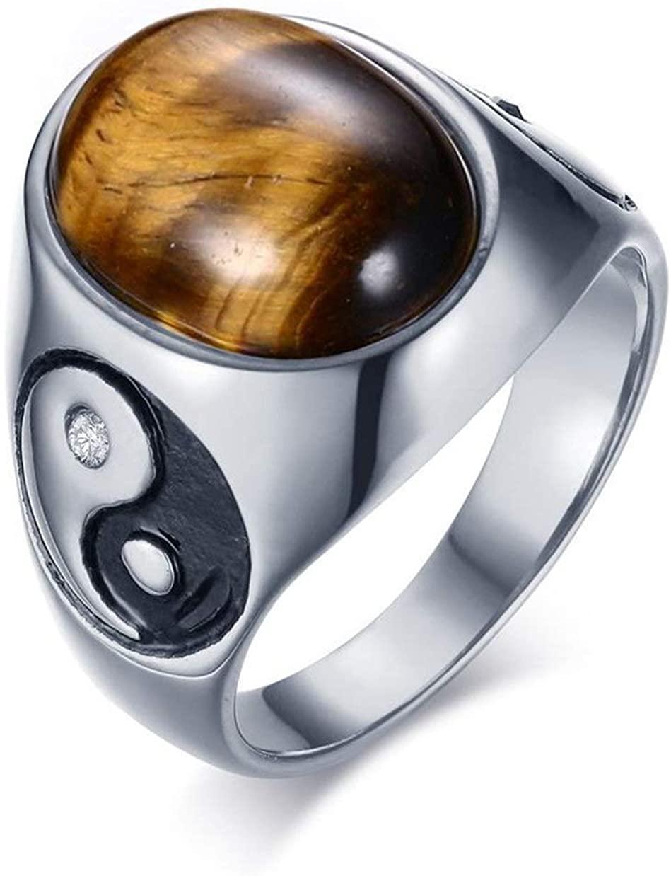 LAFATINA Vintage Yin Yang Balance Wedding Bands for Men Boy Father Class Ring, Men's Women Stainless Steel Tiger Eye Stone Tai Chi Band Rings