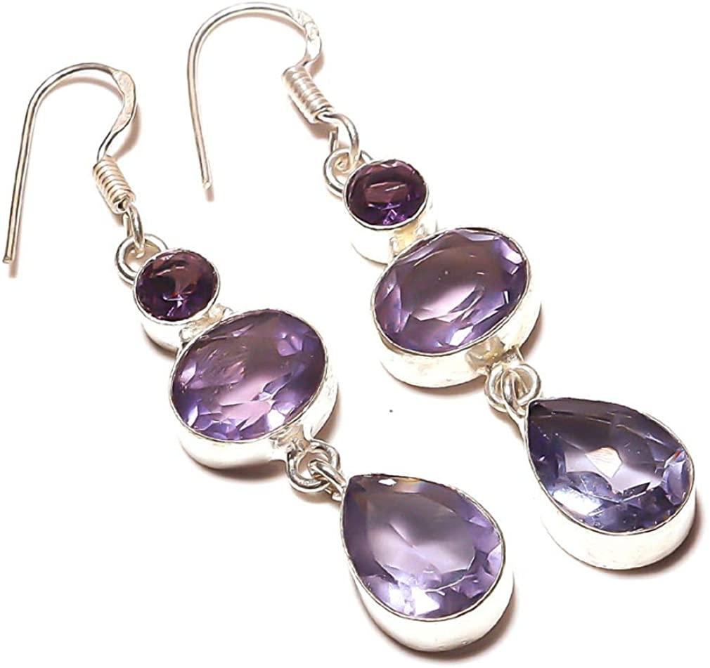 Best Gift Jewelry! Purple Amethyst Quartz HANDMADE Sterling Silver Plated Earring 2.5