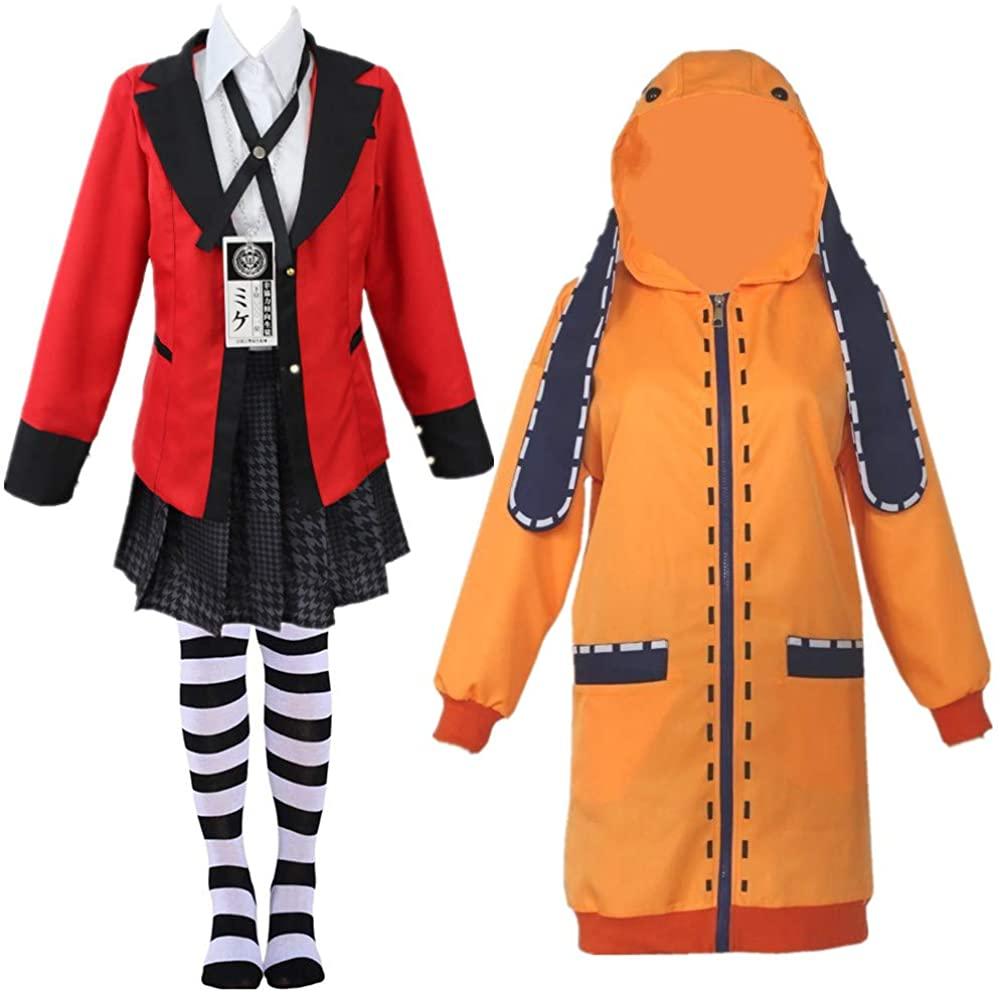 Kakegurui Jabami Yumeko Costumes Yomoduki Runa Orange Rabbit Long Coat Cosplay Ladies Girl Cute Hoodie Jacket,Fashion Socks
