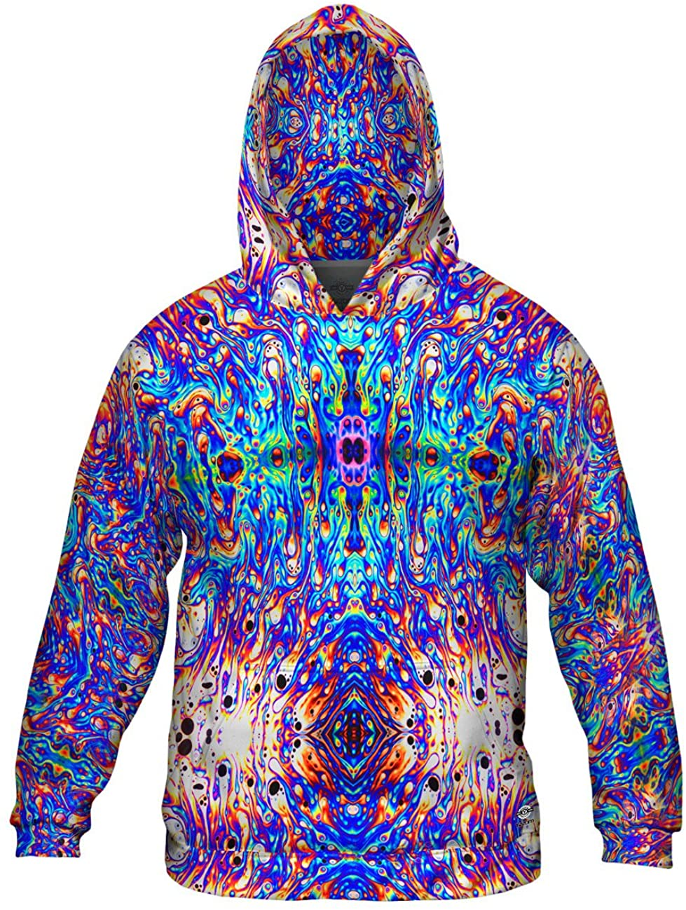 Yizzam- Psychedelic Neon Soap Party Violet -Allover Print - Mens Hoodie Sweater