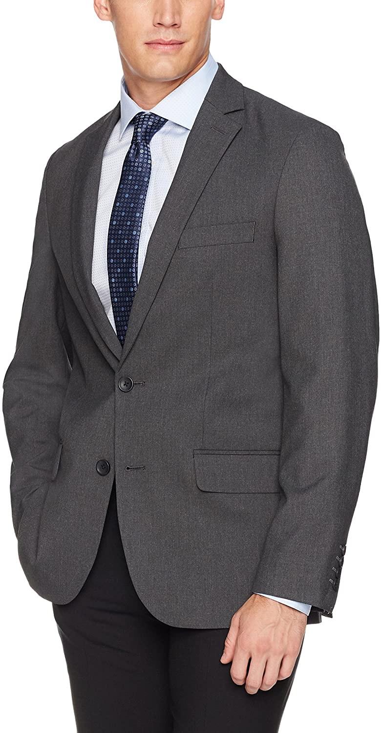 J.M. Haggar 4-Way Stretch Solid 2-Button Slim Fit Suit Separate Coat, Charcoal Heather, 42R