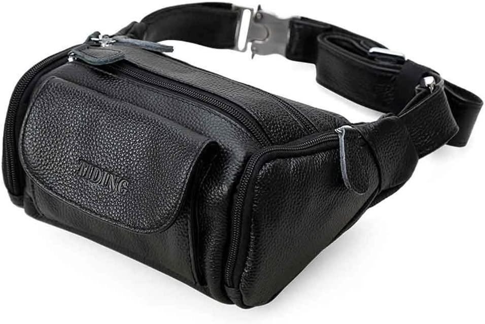 Yehyep Genuine Leather Fanny Waist Bag, Large Anti-Theft Pocket Chest Bag Men's Belt Bag Adjustable, Travel Outdoors Phone Pouch, Black