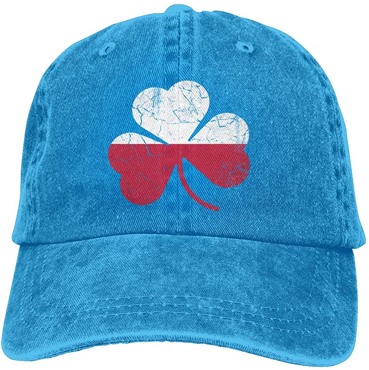 Vintage Irish Flag of Poland Shamrock Heritage Trend Printing Cowboy Hat Fashion Baseball Cap for Men and Women Black