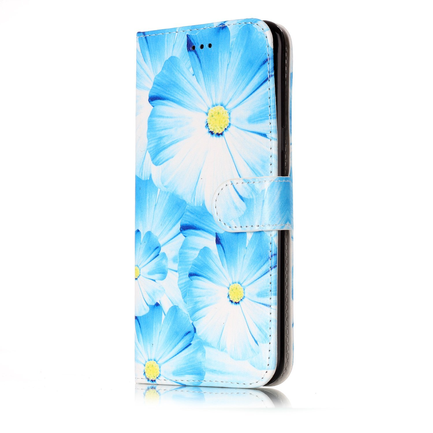 STENES Galaxy S8 Wallet Case - Stylish Series Flowers Premium Soft PU Color matching [Stand Feature] Leather Wallet Cover Flip Cases For Samsung Galaxy S8 - Blue