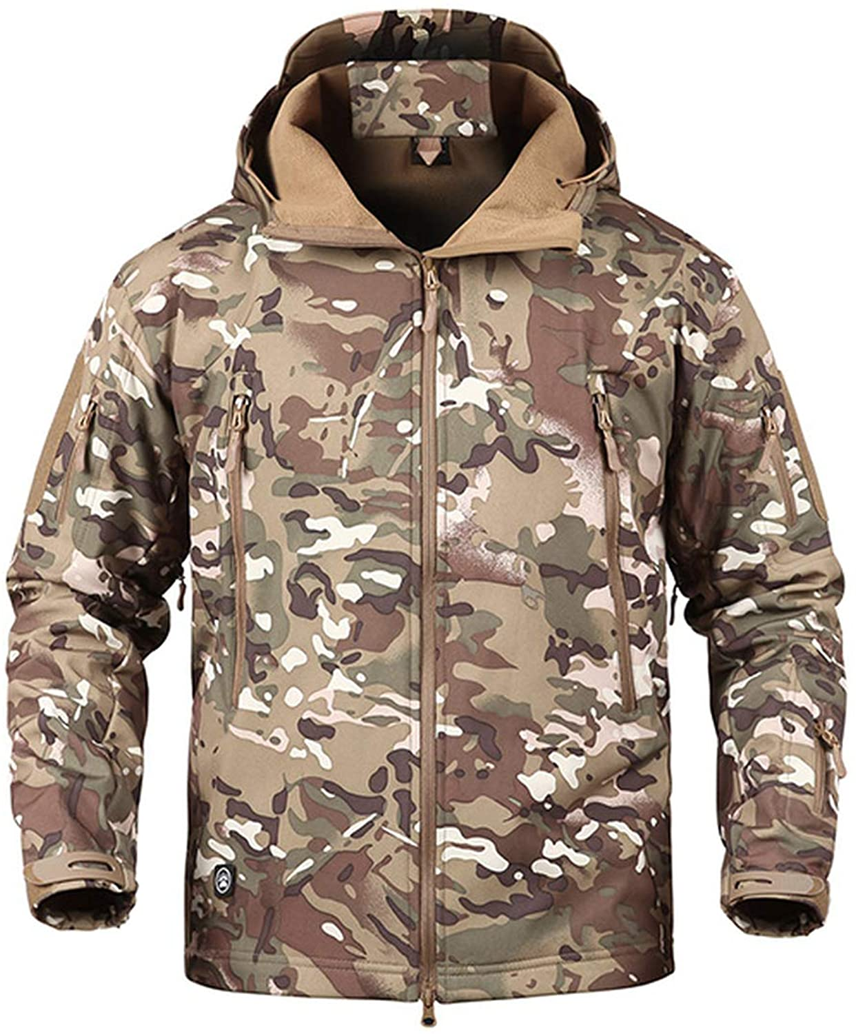 Waterproof Windproof Soft Shell Camouflage Jackets Men Hooded Winter Warm Fleece