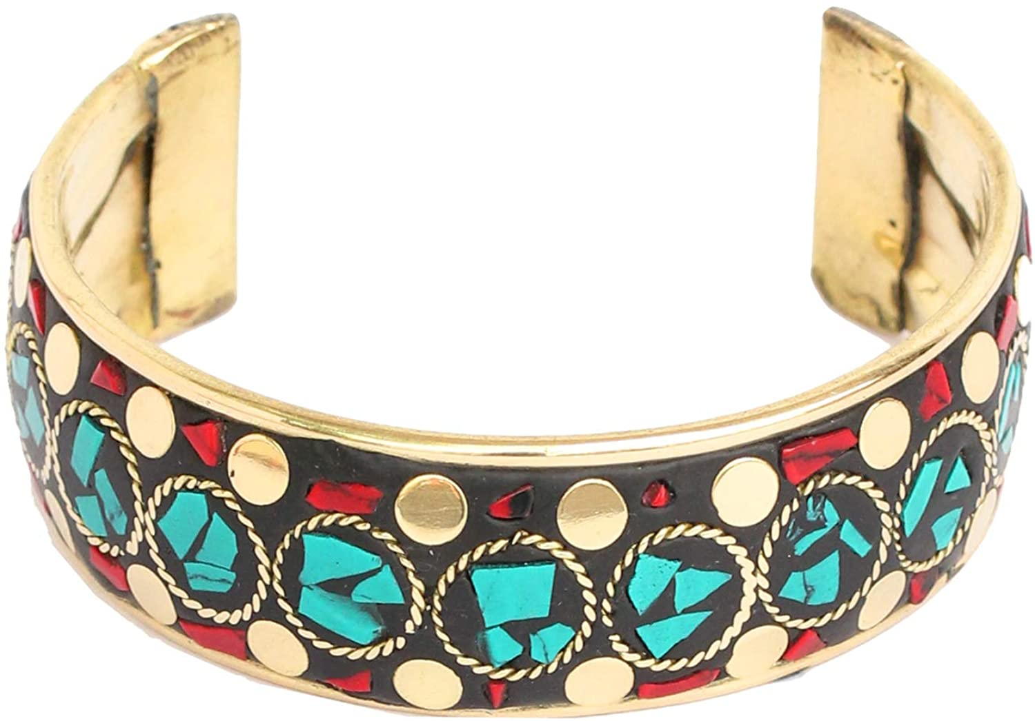 Touchstone Bollywood Beautifully Tempered Hand Beaten Designer Jewelry Torque Cuff Bracelet in Antique Tone for Women.