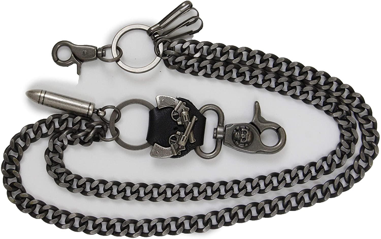 TFJ Men Fashion Wallet Chain Links Bullet Antique Silver Metal Jeans Keychain Gun Charms