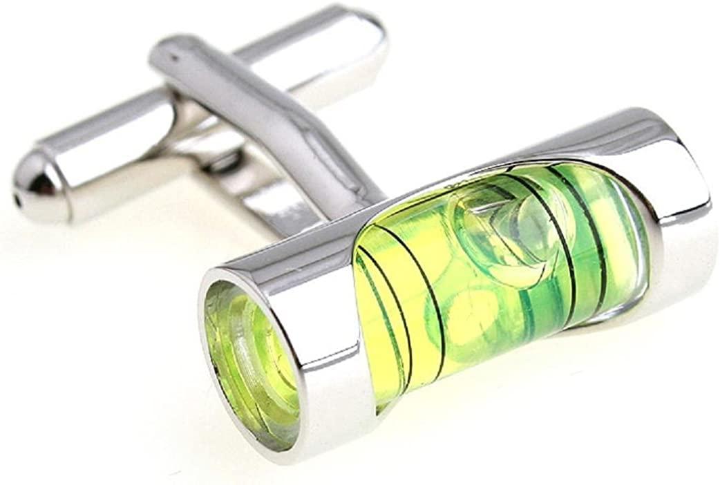 MRCUFF Level Green Liquid Construction Pair Cufflinks in a Presentation Gift Box & Polishing Cloth