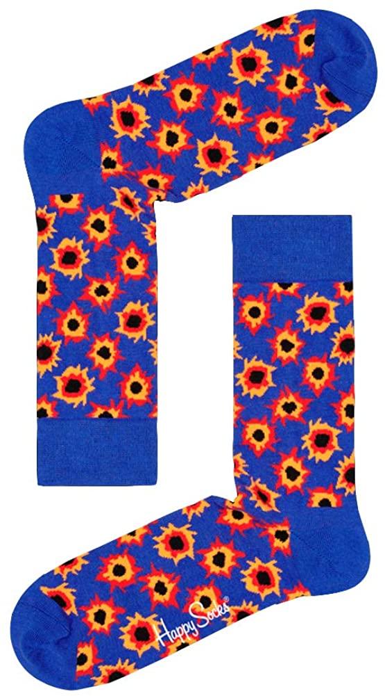 Happy Socks Unisex Bang Pattern Cotton Crew Socks