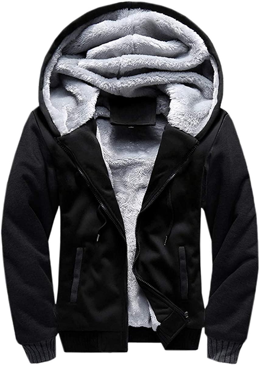 Cameinic Mens Thick Warm Padded Lined Fleece Hooded Sweatshirt Coat Jacket