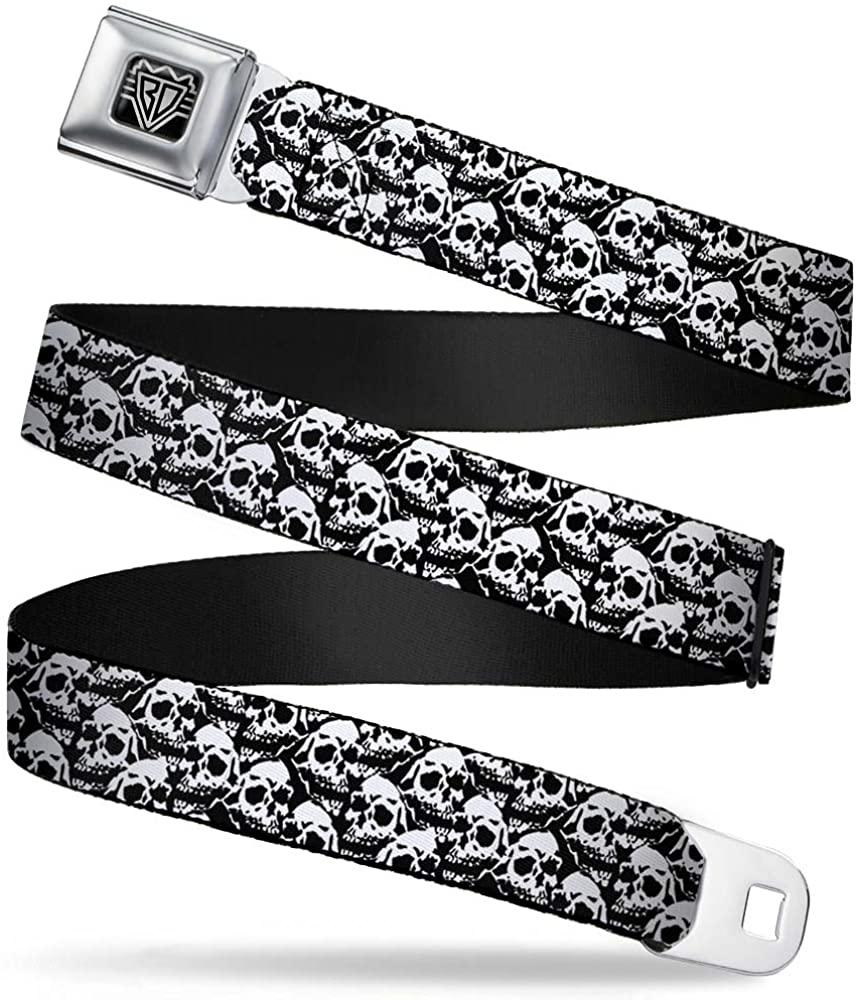 Buckle-Down Seatbelt Belt - Skull Yard Black/White - 1.5 Wide - 32-52 Inches in Length