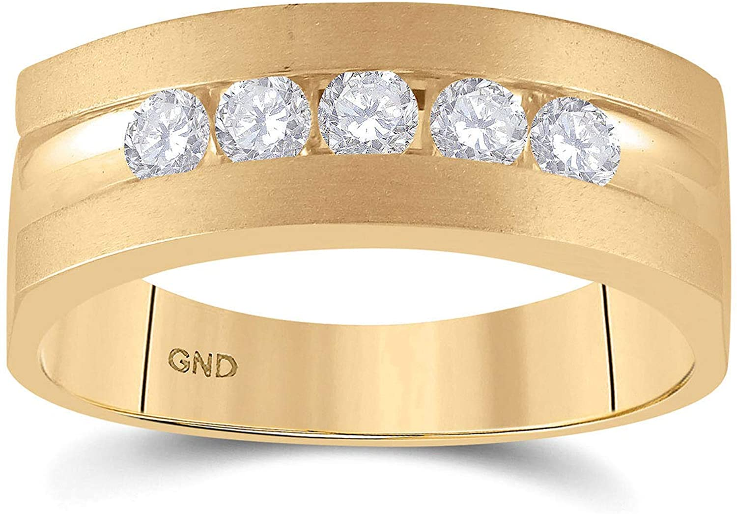 Dazzlingrock Collection 14kt Yellow Gold Mens Round Diamond Wedding 5-Stone Band Ring 1/2 Cttw