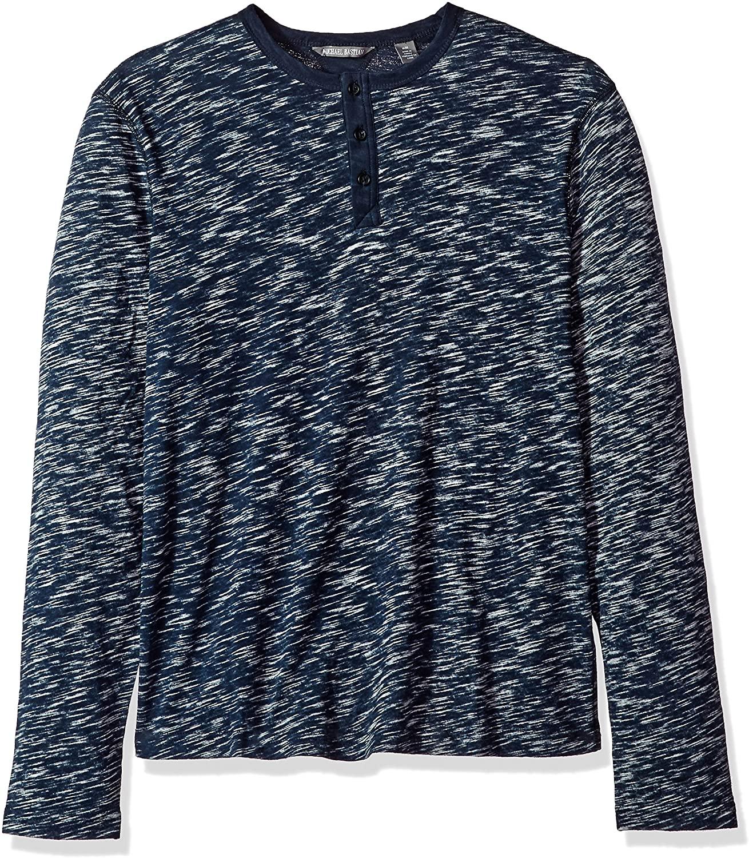 Michael Bastian Men's Long Sleeve Slub Reverse Printed Henley Polo