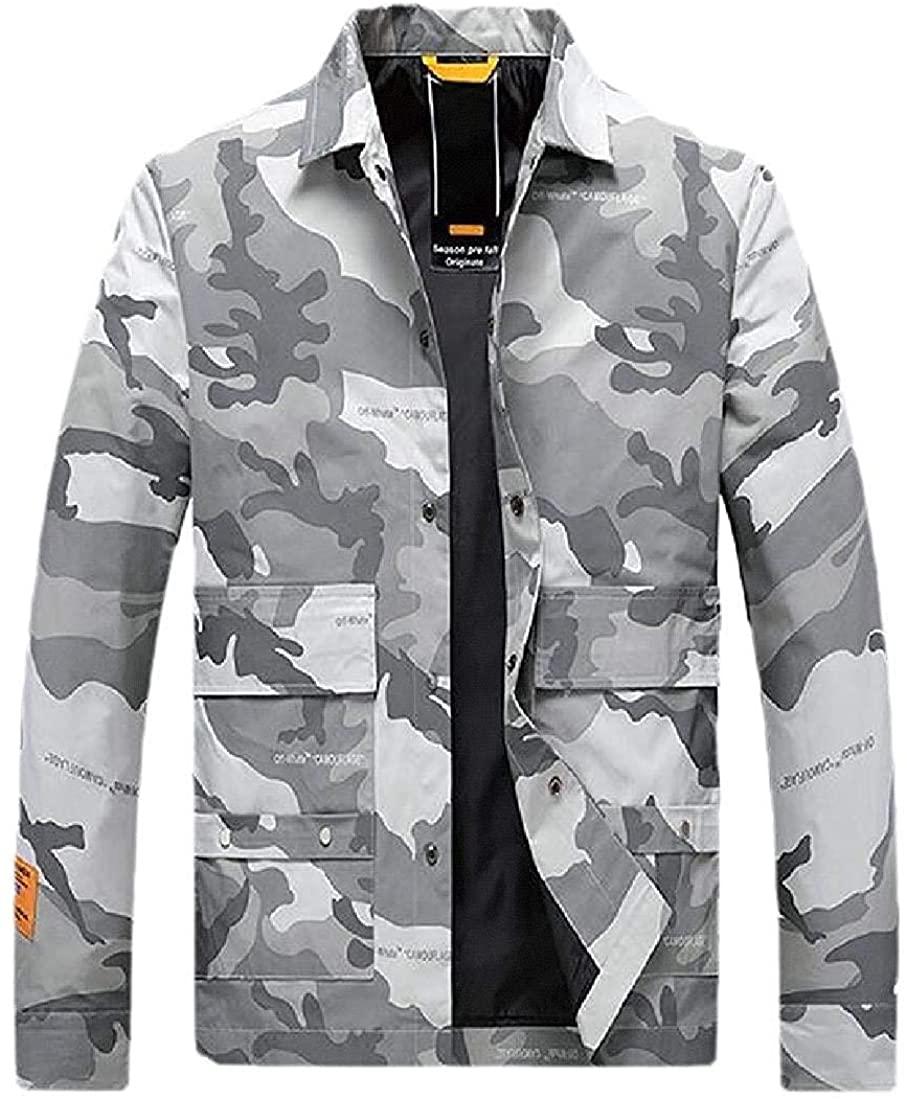 Gjkhsdfkj Men Lapel Fall & Winter Camouflage with Pockets Casual Windbreaker Jacket Coat