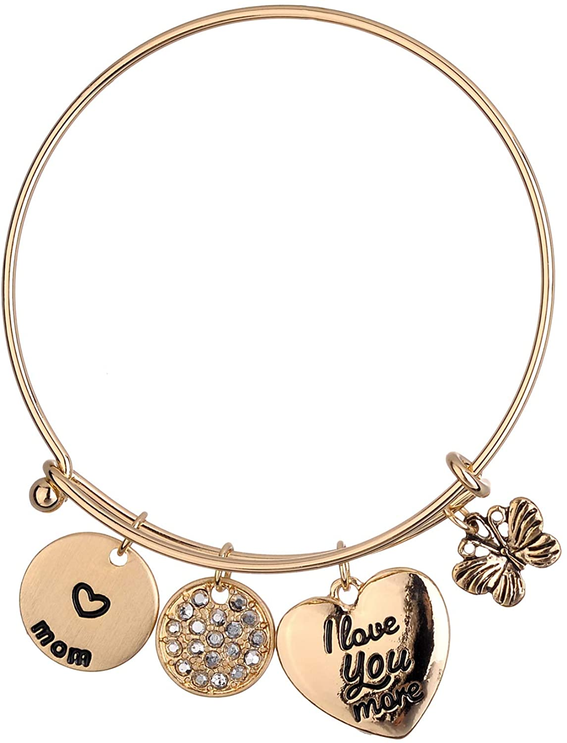 Lux Accessories Gold Butterfly Round Heart Engraved I Love You mom Clear Crystal Rhinestones Bangle Bracelet