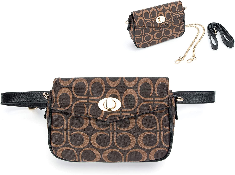 MICOM Women Fashion Waist Packs Fanny Waist Bag For Women Belt Bag with Chain Shoulder Be Crossbody Bags (P Signature)