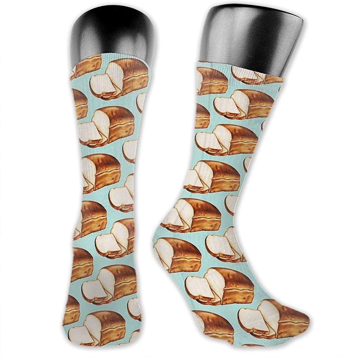 Unisex Crazy Funny Cool 3D Print Bread Pattern Socks Colorful Athletic Medica Socks Novelty Casual Crew Socks