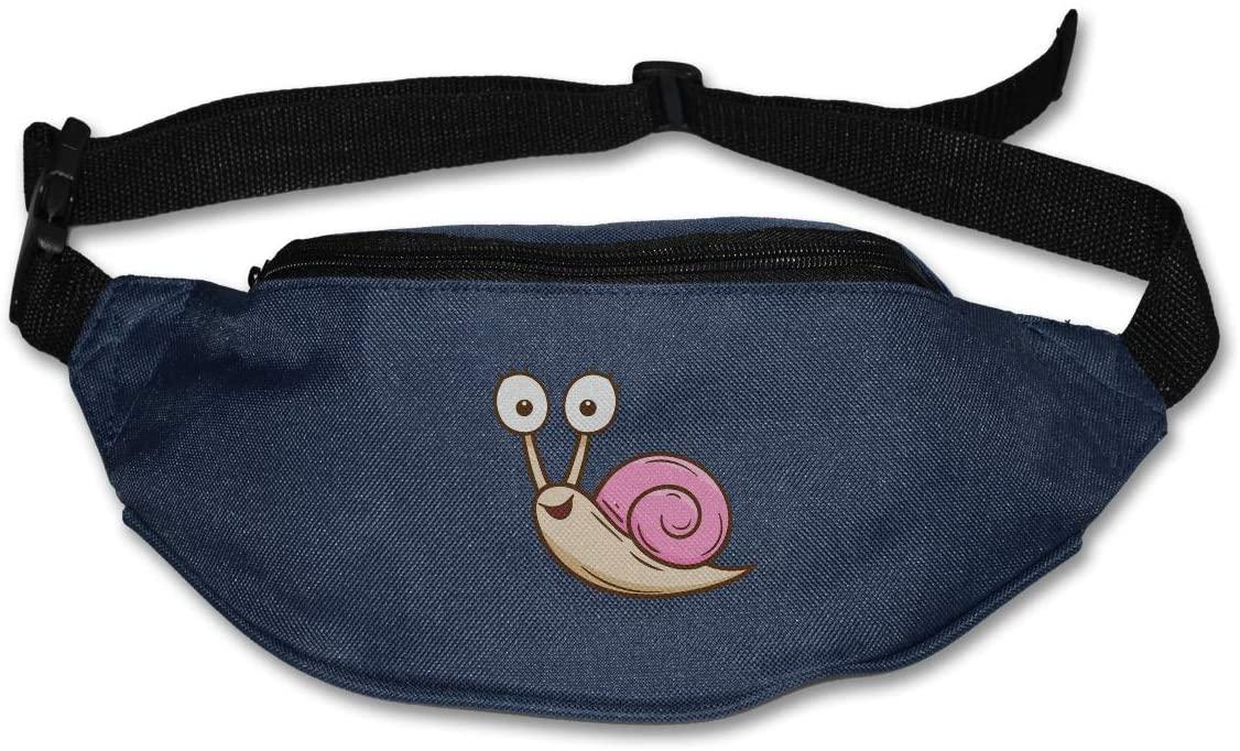 SWEET-YZ Unisex Waist Pack Funny Snail Flat Fanny Bag Pack for Sport Running