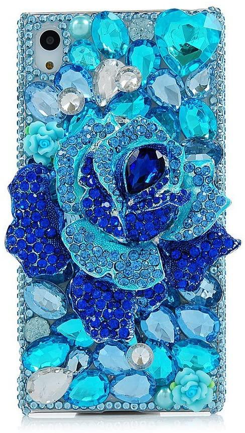 STENES Sony Xperia XZ/XZs Case - 3D Handmade Crystal Big Rose Sparkle Rhinestone Design Cover Case For Sony Xperia XZ/XZs Retro Dust Plug - Blue