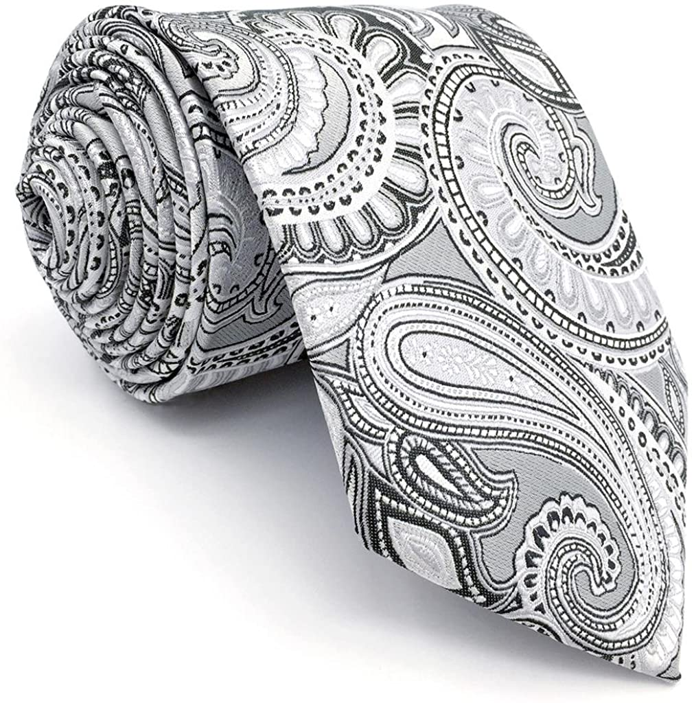 S&W SHLAX&WING Skinny Necktie Grey Paisley Mens Tie Slim Fashion