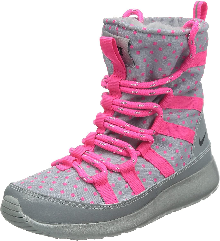 Nike Rosherun Flash Girls Youth Wolf Grey/Black/Hyper Pink/Silver Hi Sneakers Boots