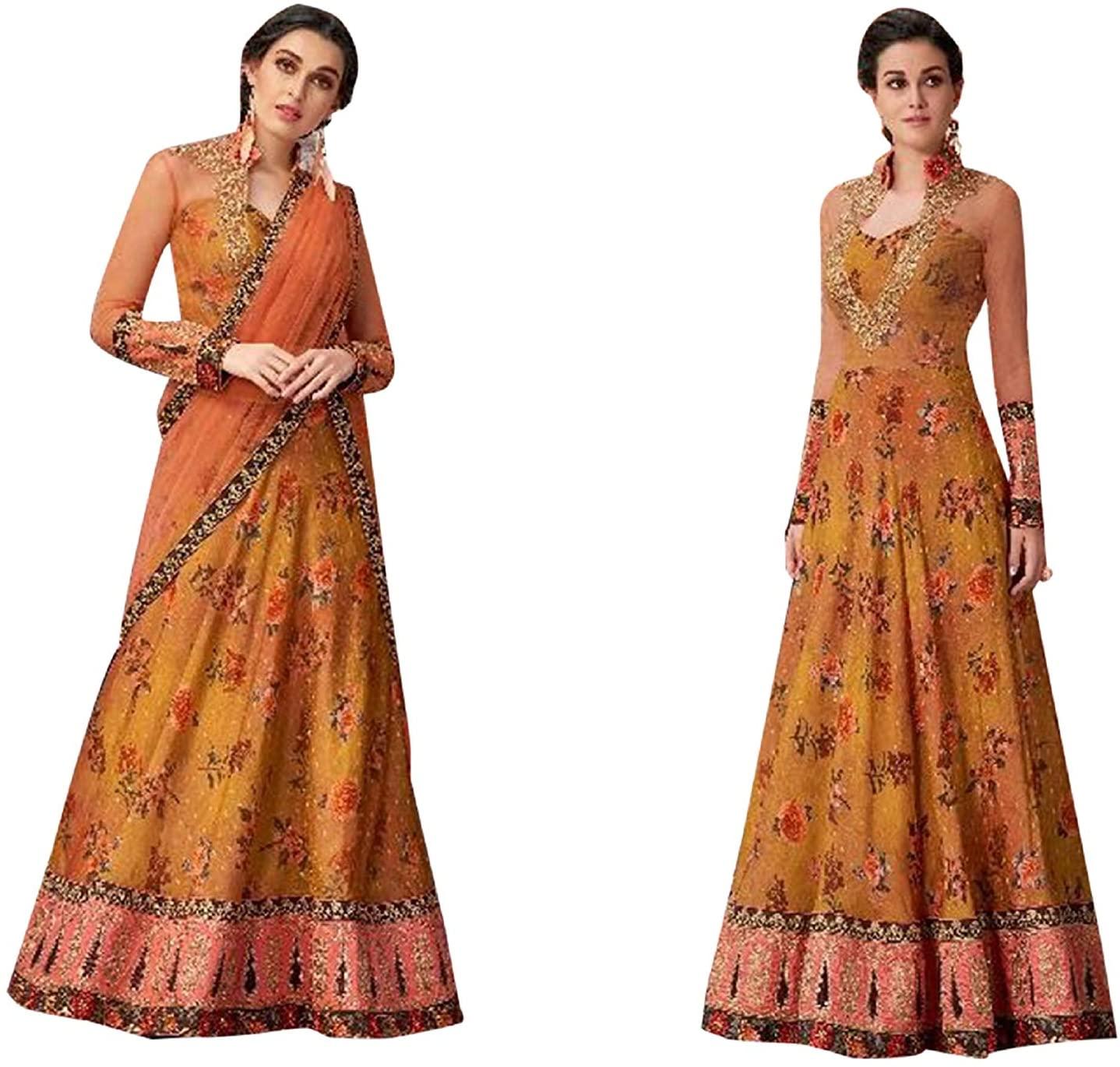 Mustard Designer Printed Lehenga Ghagra Choli Festival Anarkali Gown Dress Muslim Indian Women 8214