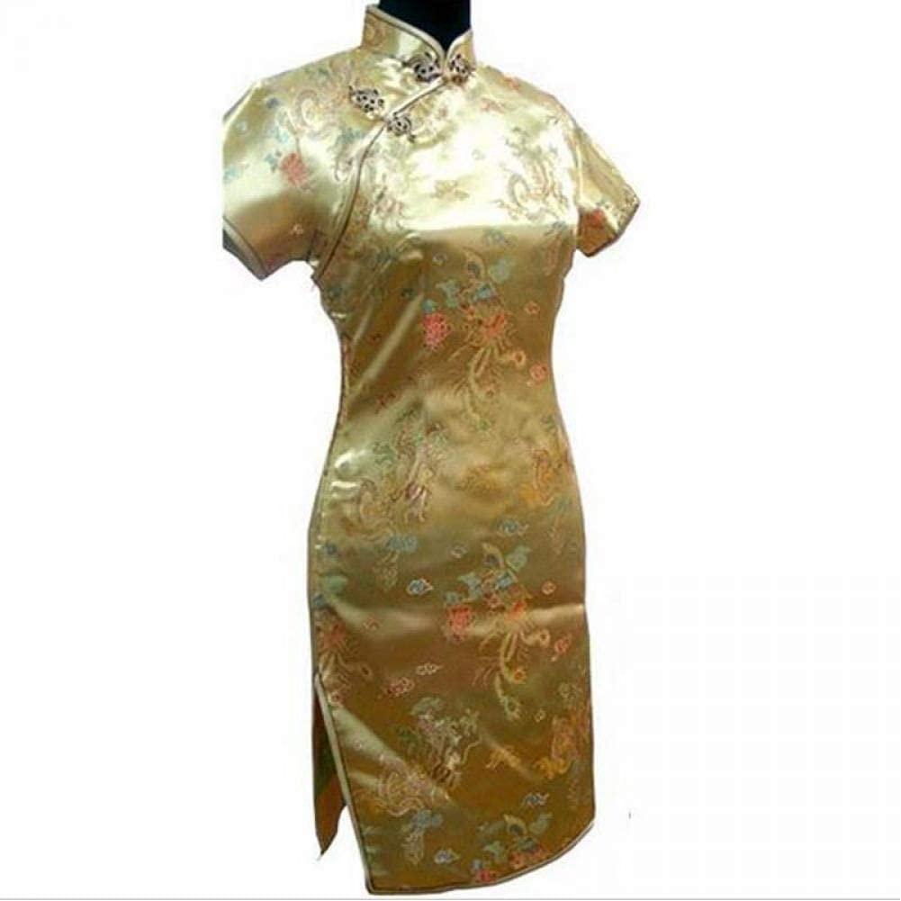 Ladies Retro Dragon Phoenix Short Cheongsam Elegant Women Cheongsam Mandarin Collar Sexy Mini Chinese Dress