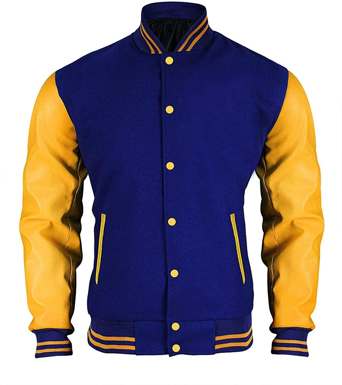 Mens TV Series Inspired Blue and Yellow R Logo Varsity Letterman Bomber Jacket