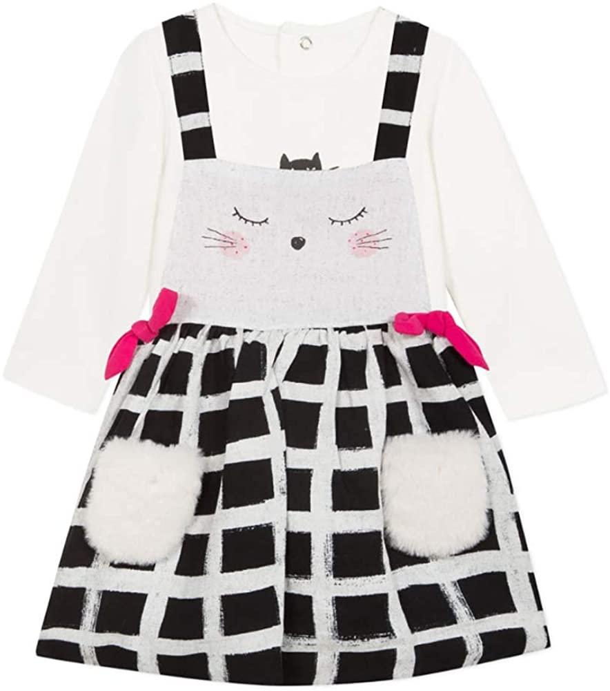 Catimini Girls Cat Pocket Pinafore Jumper & Shirt Set