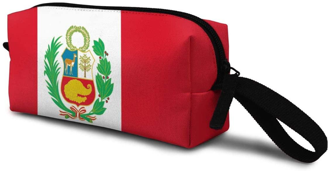 T-JH Peru Flag Mini Makeup Bag,Portable Cosmetic Bag,Organizer,Toiletry Handbag,Receive Bag,Storage Pouch for Women Purse