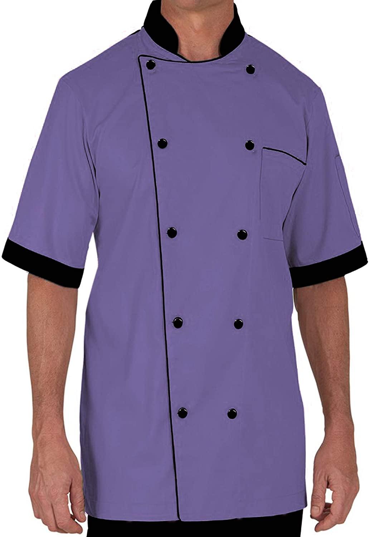 Chef Coat Half Sleeve Lightweight Uniform Purple Small