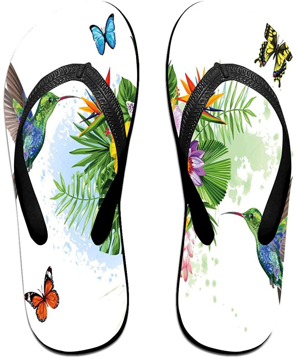 Mens Flip Flop Slippers Hummingbird Bird and Butterfly Flower Blossom Floral Rubber Cozy Flip Flops Outdoor Beach Sandals