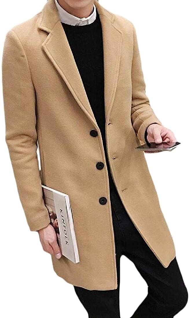Jofemuho Men's Solid Plus Size Fall Winter Slim Longline Single Breasted Wool-Blend Pea Coat Jacket