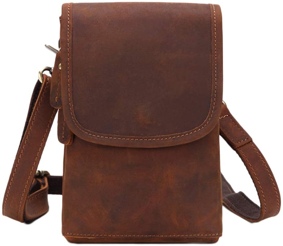 Men's Genuine Leather Sling Bag Small Casual Crossbody Outdoor Travel Shoulder Pouch Cell Phone Belt Loop Holster Case Waist Bag Purse Cigarette Case for 7.0 Inch Vertical M Size Brown