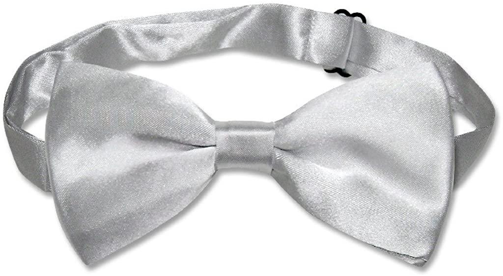 BOWTIE Solid SILVER GRAY Color Mens Grey Bow Tie for Tuxedo or Suit