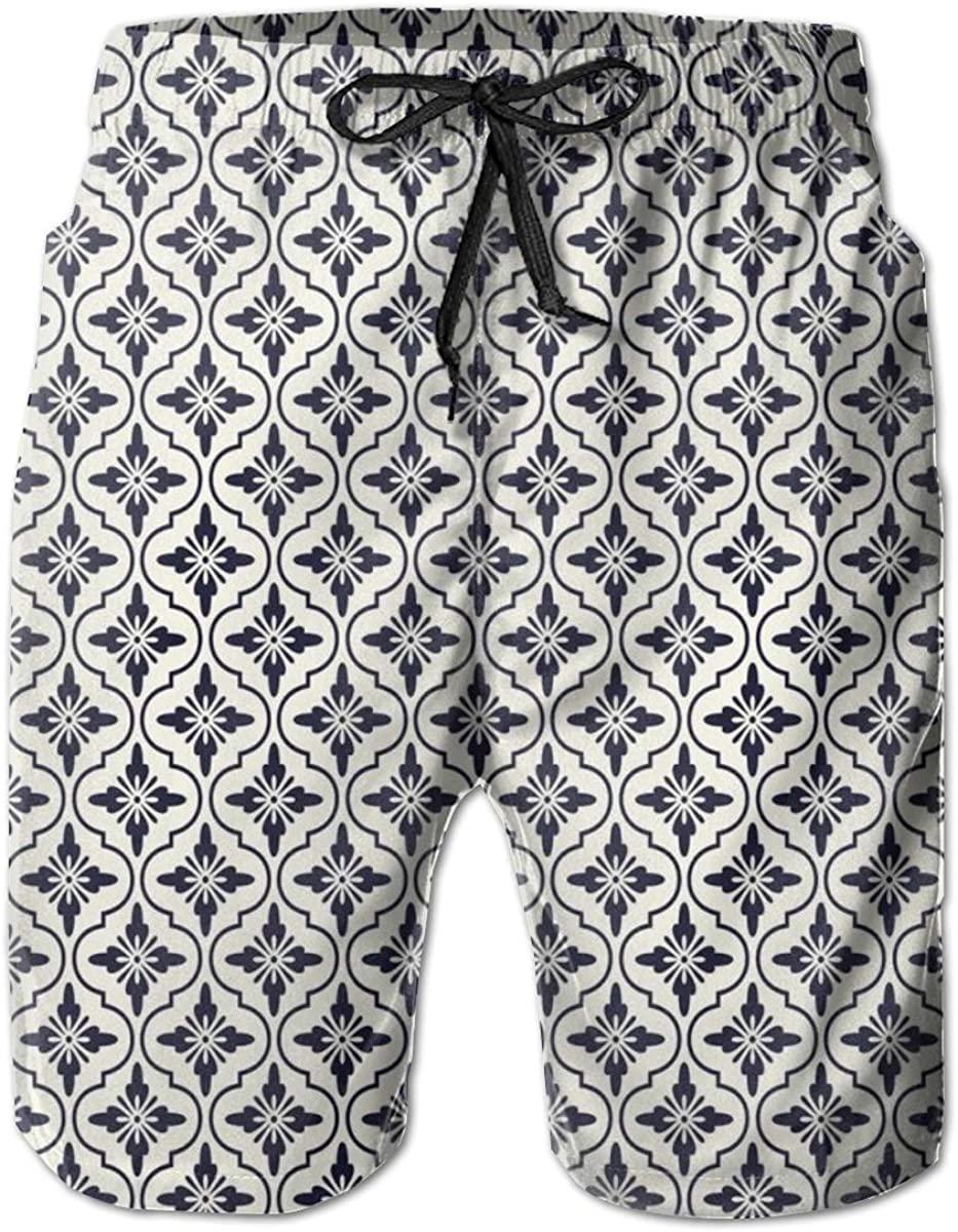 Men's Swim Trunks Quick Dry Beach Shorts Japanese Civilization Inspired Floral Arrangement Lattice Pattern Asian L