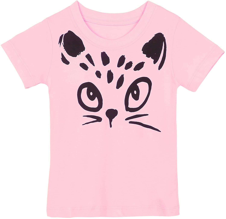Girls Cotton T-Shirts Summer Short Sleeve Cartoon Cat Print Tops Tees